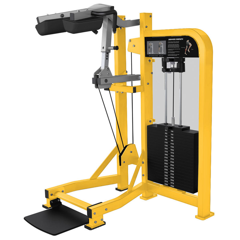 Hammer Strength Select Standing Calf in yellow and platinum.