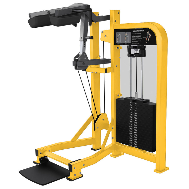 Hammer Strength Select Standing Calf in yellow and titanium.