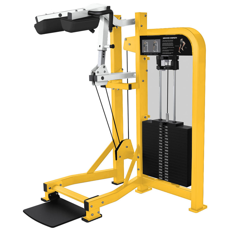 Hammer Strength Select Standing Calf in yellow and white.