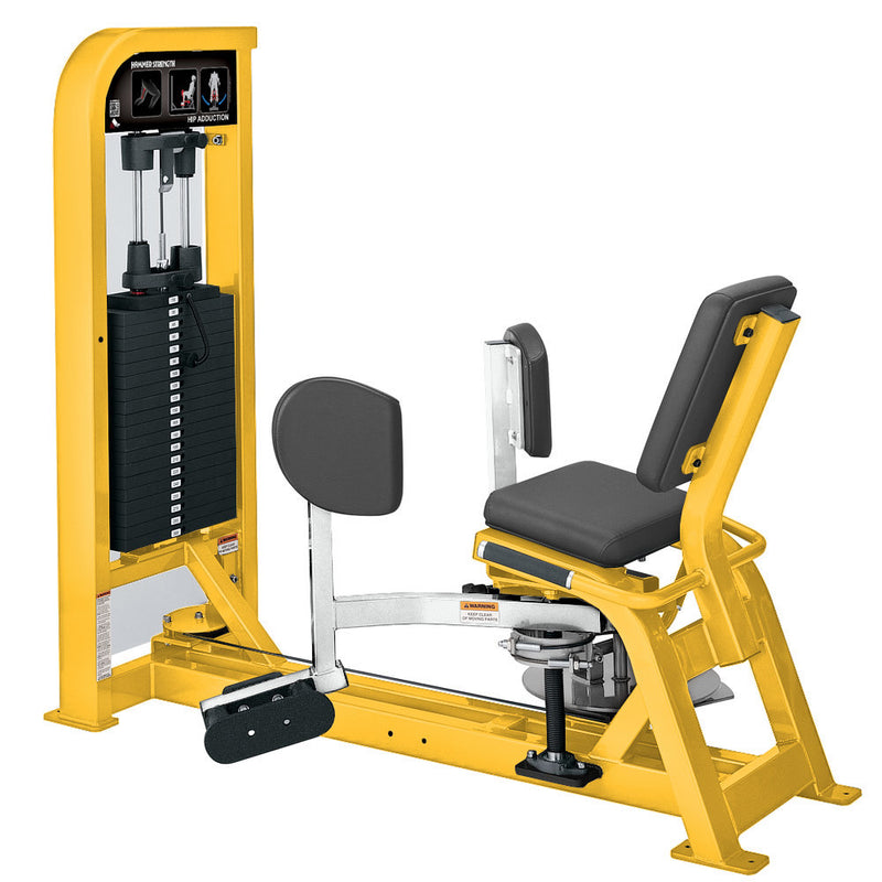 Hammer Strength Select Hip Adduction in yellow and white.