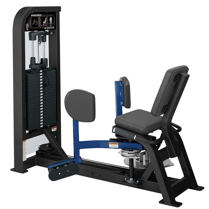 Hammer Strength Select Hip Adduction in black and blue.