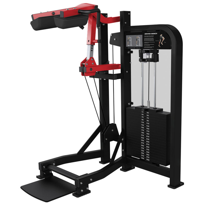 Hammer Strength Select Standing Calf in black and red.