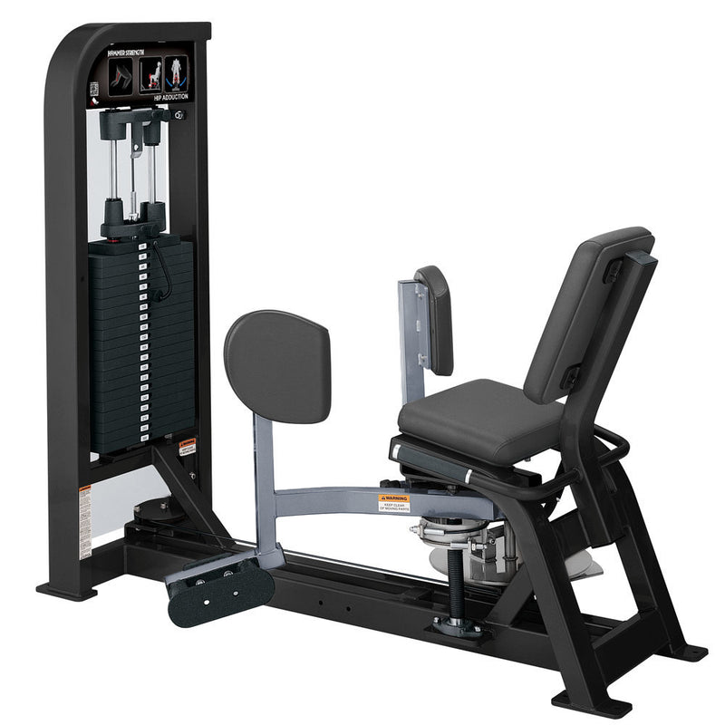 Hammer Strength Select Hip Adduction in black and ice blue metallic.