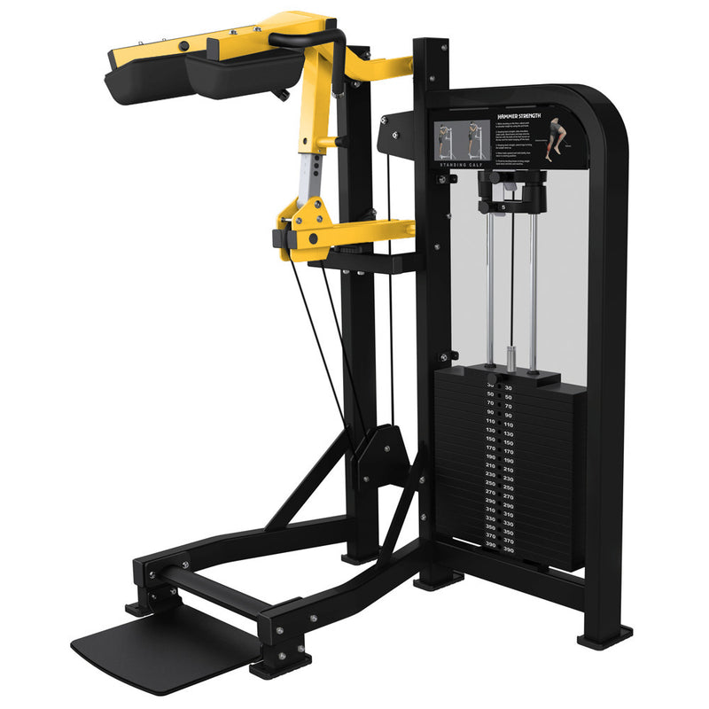 Hammer Strength Select Standing Calf in black and yellow.
