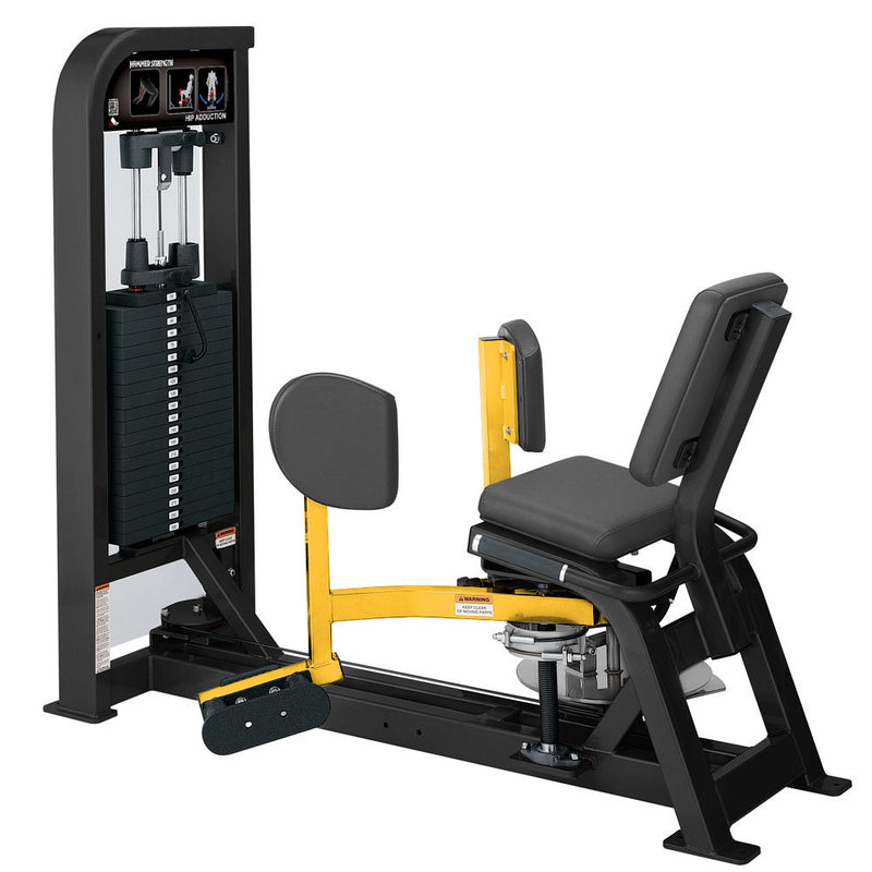 Hammer Strength Select Hip Adduction in black and yellow.