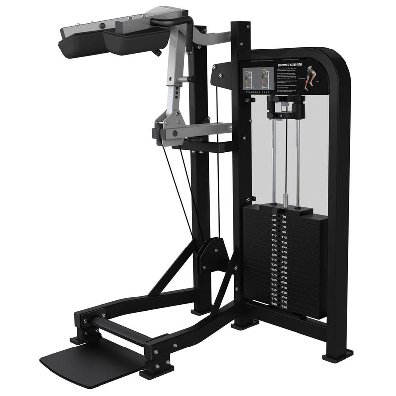 Hammer Strength Select Standing Calf in black and platinum.