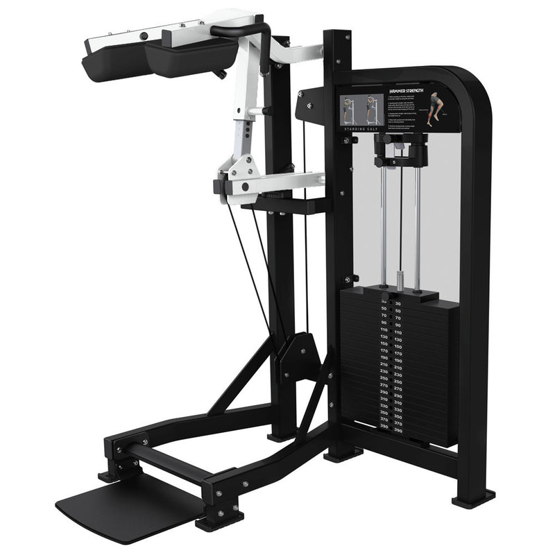 Hammer Strength Select Standing Calf in black and white.