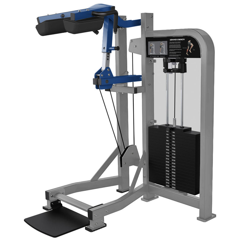 Hammer Strength Select Standing Calf in platinum and blue.