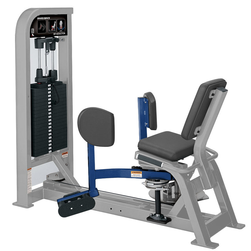 Hammer Strength Select Hip Adduction in platinum and blue.