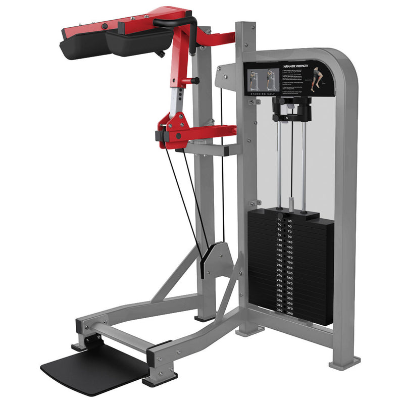 Hammer Strength Select Standing Calf in platinum and red.