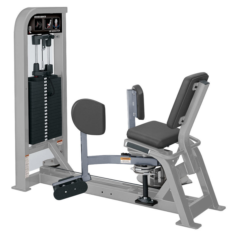 Hammer Strength Select Hip Adduction in platinum and ice blue metallic.
