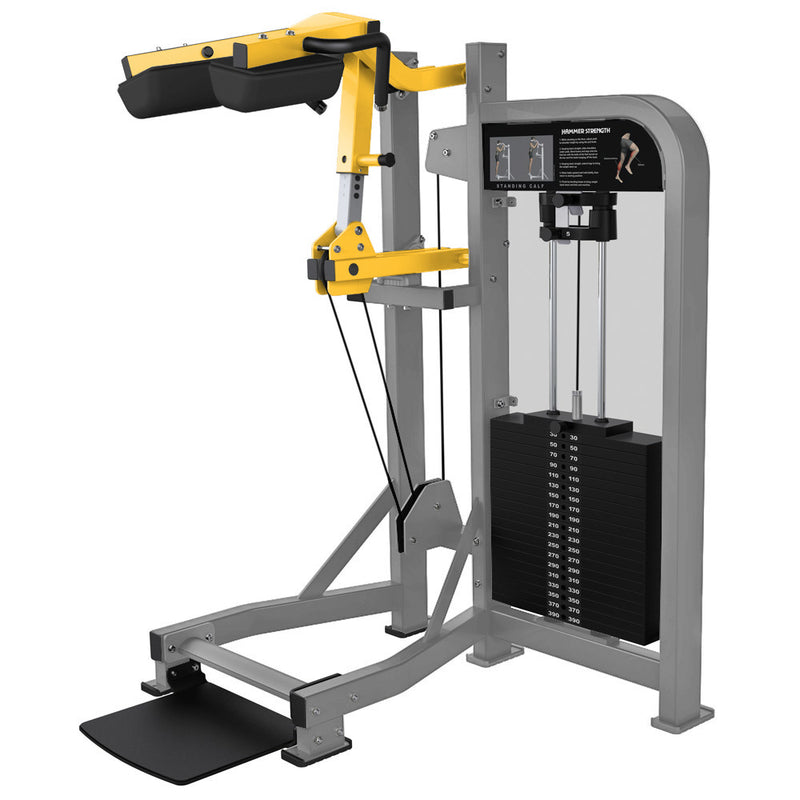 Hammer Strength Select Standing Calf in platinum and yellow.