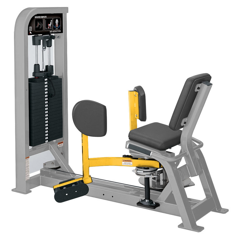 Hammer Strength Select Hip Adduction in platinum and yellow.