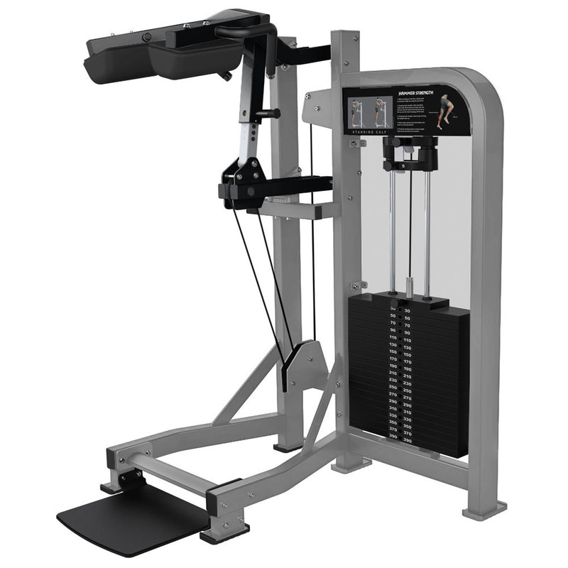 Hammer Strength Select Standing Calf in platinum and black.