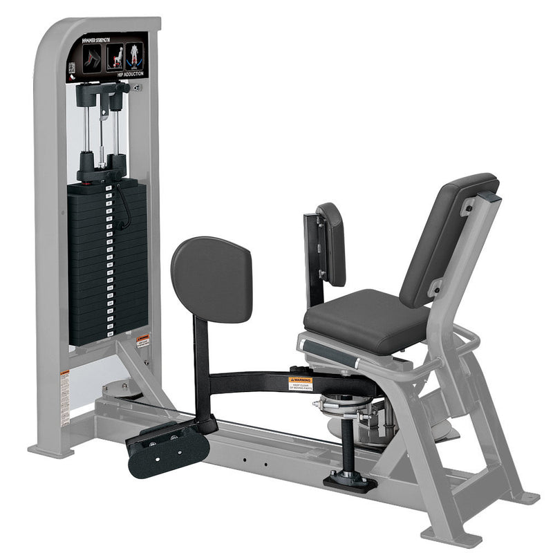Hammer Strength Select Hip Adduction in platinum and black.