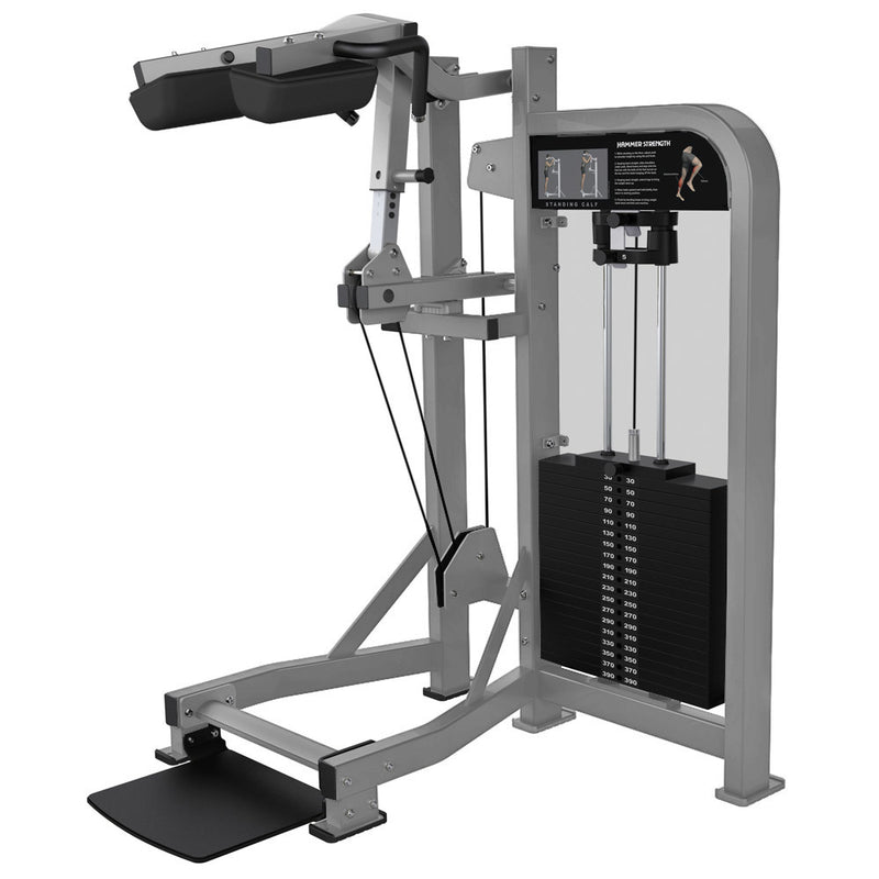 Hammer Strength Select Standing Calf in all platinum.