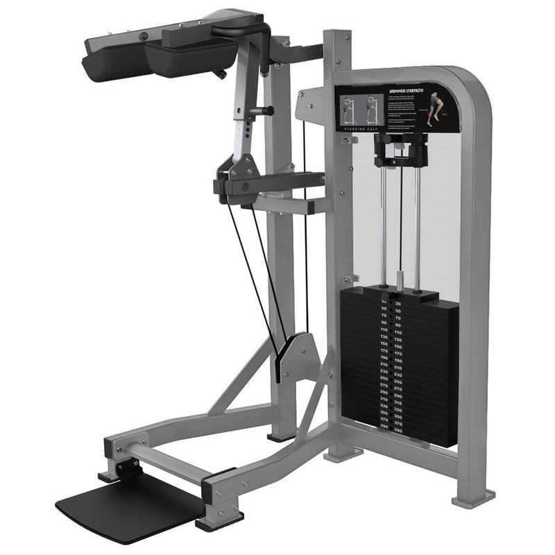 Hammer Strength Select Standing Calf in platinum and titanium.