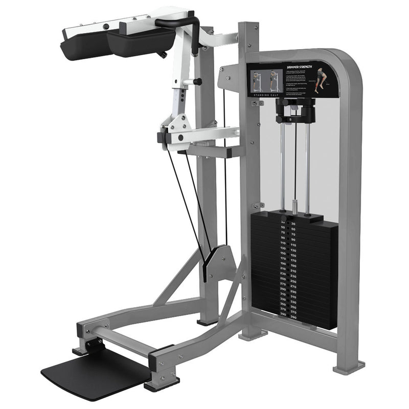 Hammer Strength Select Standing Calf in platinum and white.