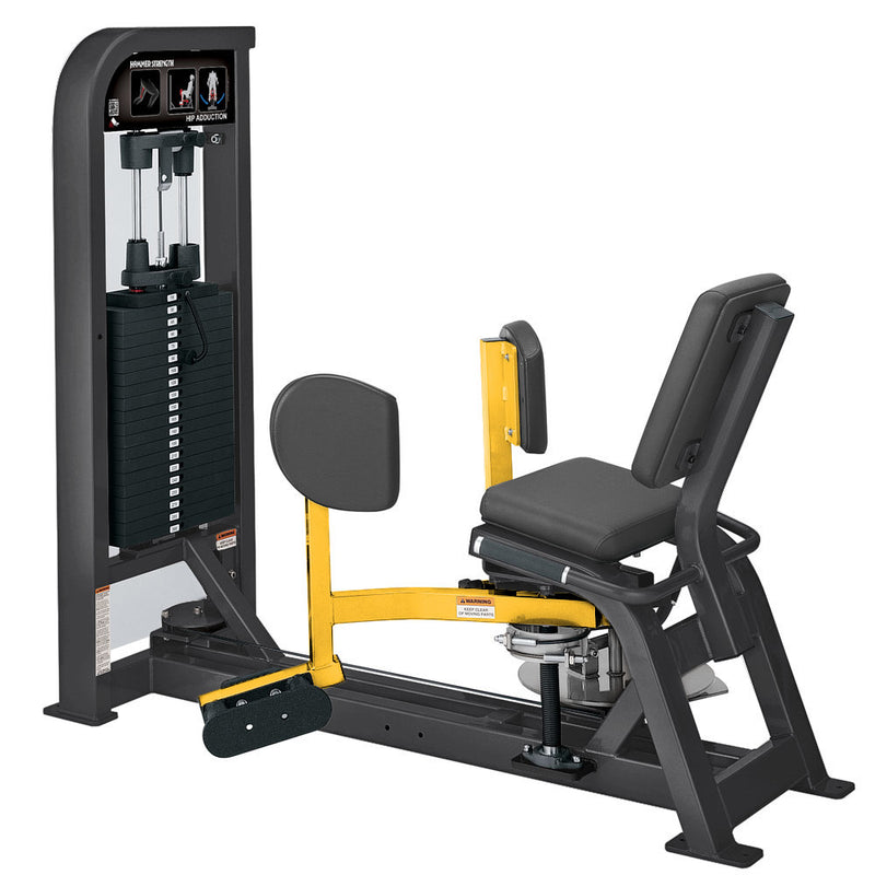 Hammer Strength Select Hip Adduction in titanium and yellow.