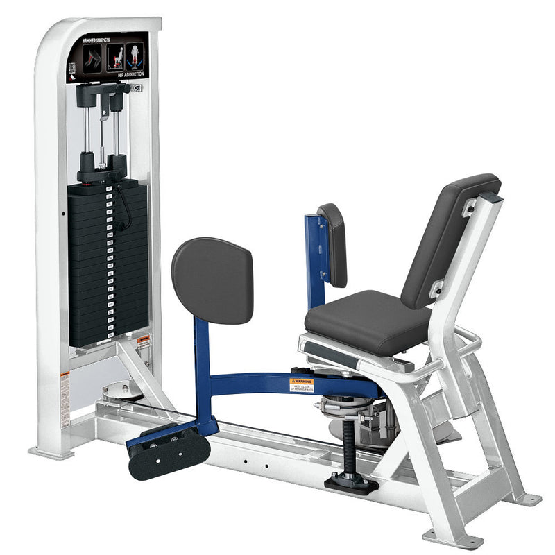 Hammer Strength Select Hip Adduction in white and blue.