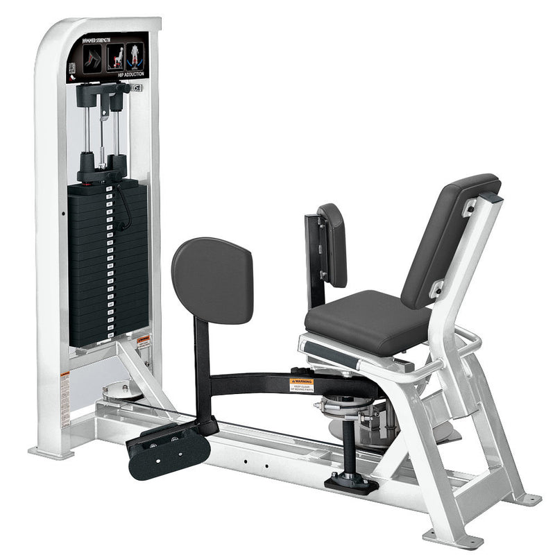 Hammer Strength Select Hip Adduction in white and black.