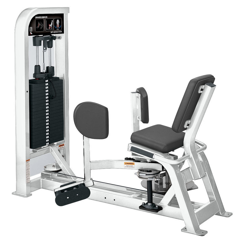 Hammer Strength Select Hip Adduction in all white.
