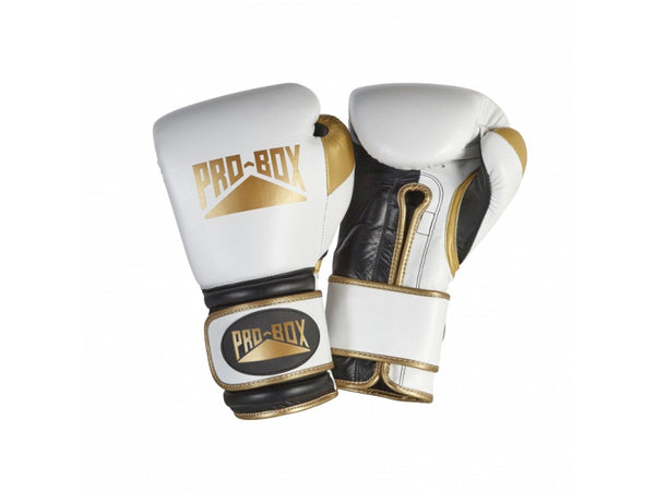 White, gold and black boxing gloves with Pro-box logo.