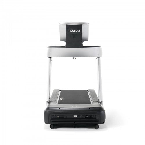 Front view of black and silver intenza treadmill.