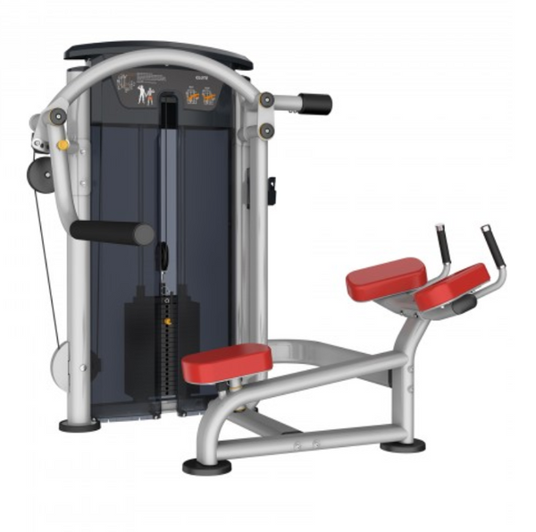 Glute building machine with red seat and padding.