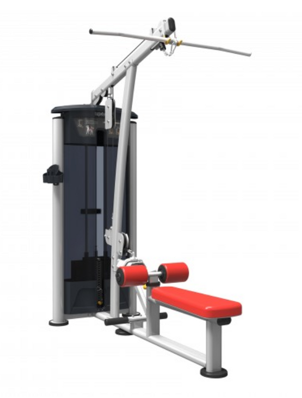 Lat pulldown bar over a long red bench and padding.
