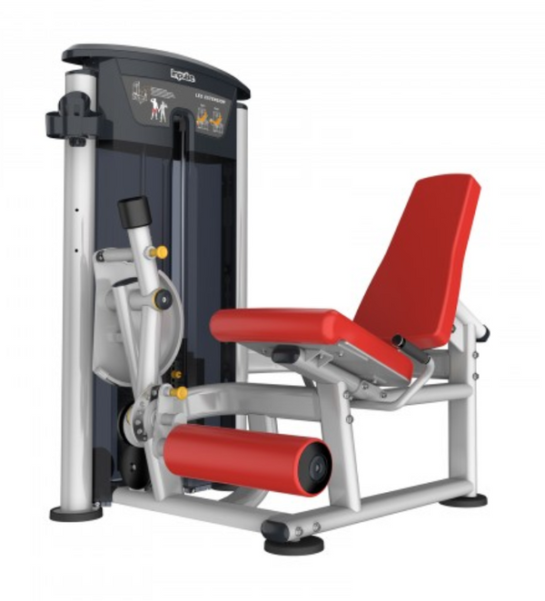 Leg extension with red seat and padding.