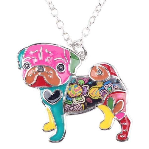 Colorful Pug Necklace - Cute Pendant For Dog Lovers