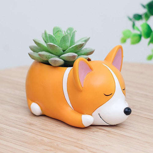Cute Sleeping Corgi Planter Flower Pot