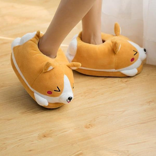 Women's Plush Corgi Slippers - Cute & Warm!