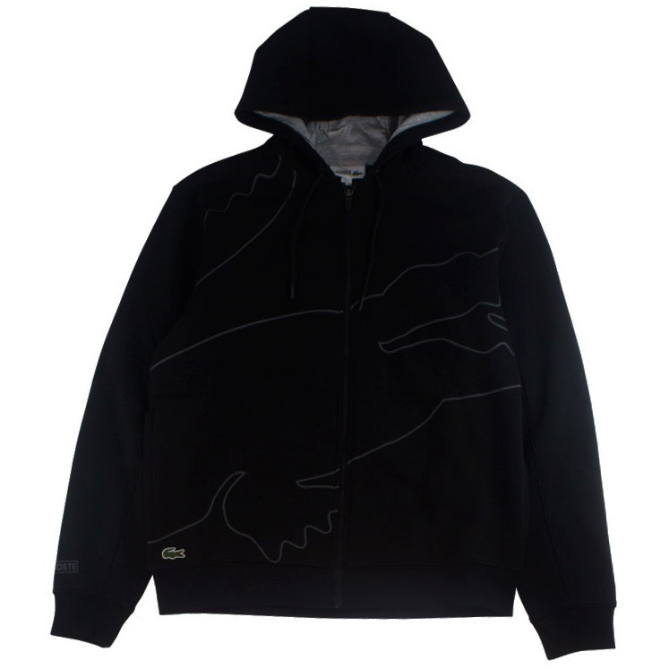 Lacoste Sport Black Outlined Big Croc Full-Zip Hoodie