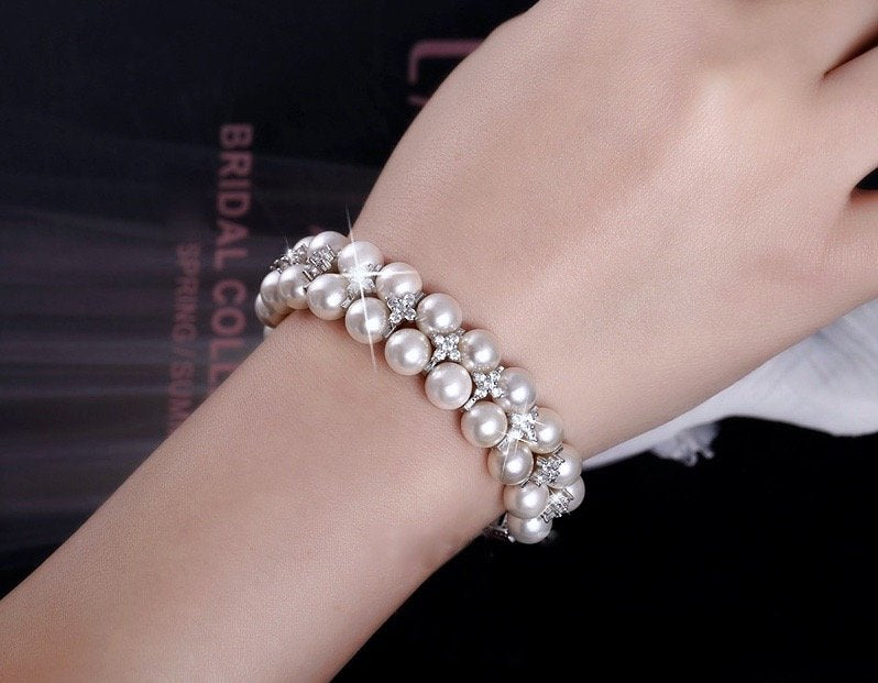 """Katelyn"" - Pearl and Cubic Zirconia Bridal Bracelet"