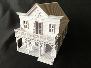 Miniature Old West Sheriff Jailhouse HO Train Scale with Interiors Assembled Built Ready