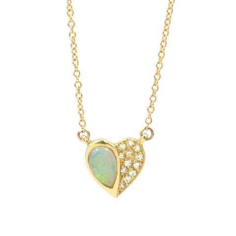 14k Yellow Gold Opal Half Heart Necklace