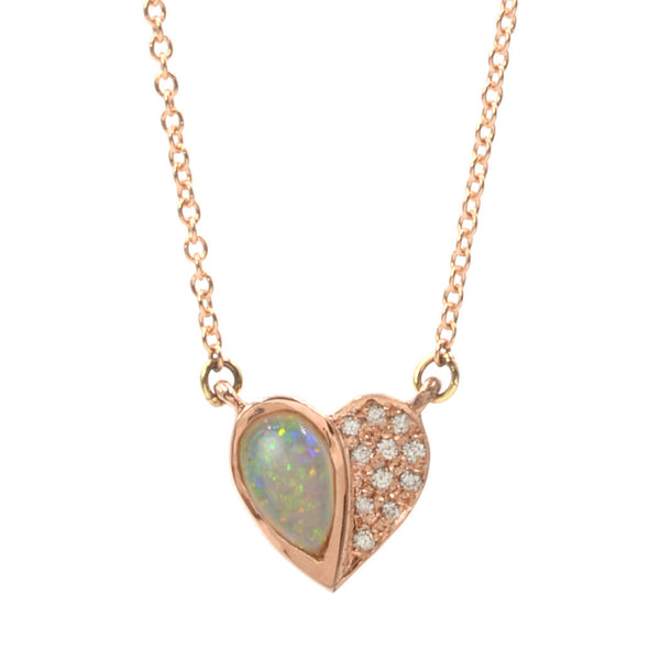 14k Rose Gold Opal Half Heart Necklace