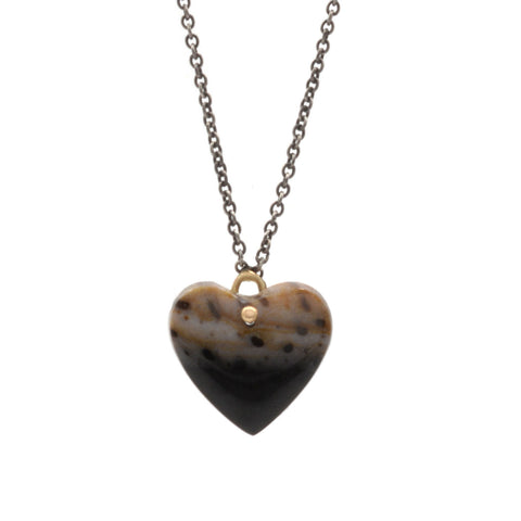 Palm Wood Heart Drop Necklace