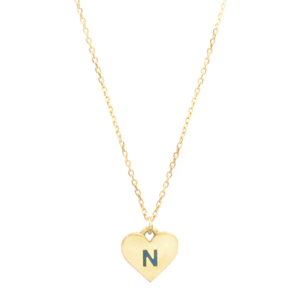 Custom Enamel Initial Shape Necklace