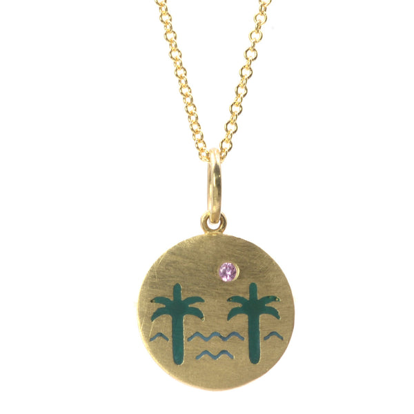 Enamel Venice Palms Necklace with Pink Sapphire