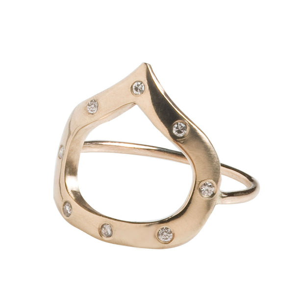 Wide Drop Ring With Diamonds