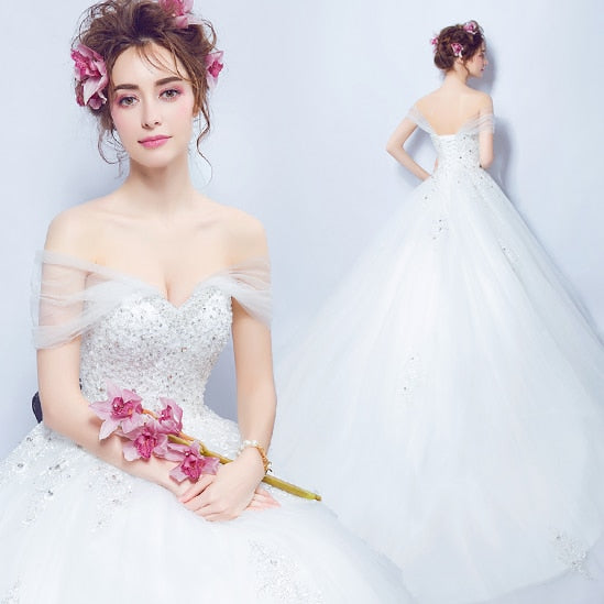 SOCCI Sexy Organza Tulle Lace Appliques Wedding Dress Cap Sleeve Sweetheart Princess Bride Dresses Pearls Crystal Beading gowns