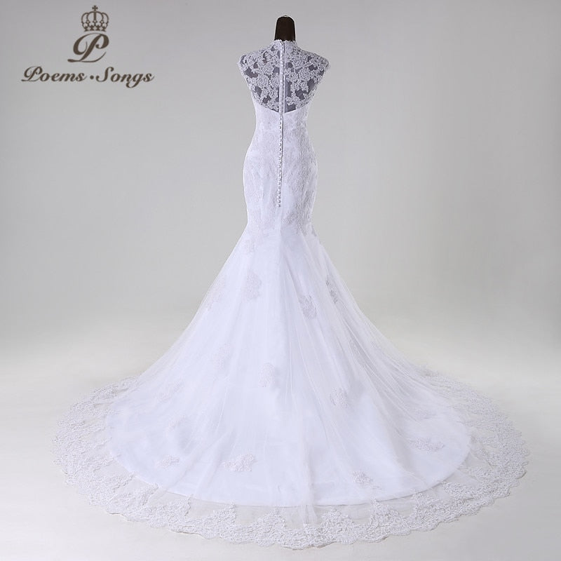 PoemsSongs2017New style high quality custom made mermaid wedding dress white ivory vestido de noiva brides dress ball gown