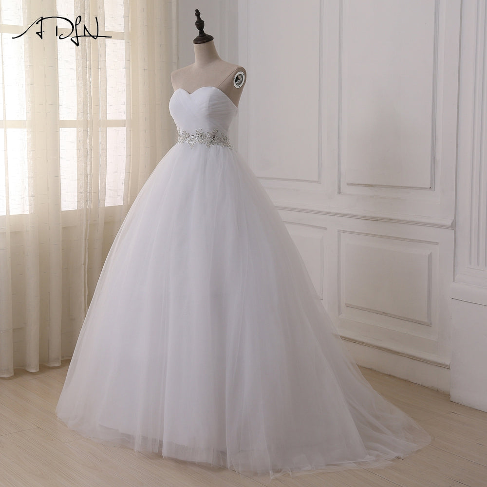 ADLN Stock Wedding Dresses Vestidos de novia Sweetheart Sweep Train Lace Applique Corset Wedding Dress Gowns Robe De Mariage