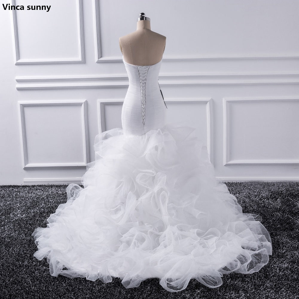 Katristsis d 2019 Mermaid sweetheart Wedding Dresses Vestido De Noiva Sheer Lace Up Bride Tull Ruffles Bridal Dress Gown