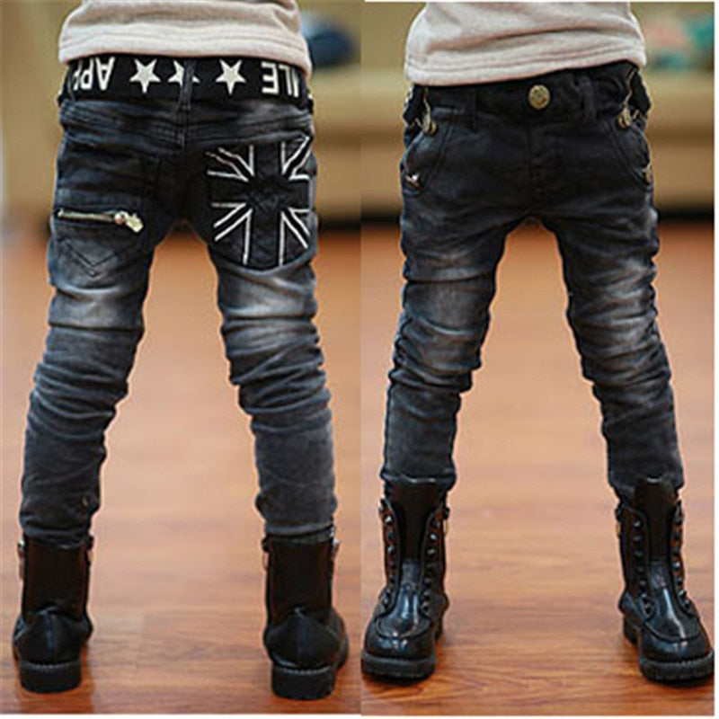Kids boys spring autumn2017 black jeans big virgin trousers fashion pants boys brand children casual for boys chottn long pants