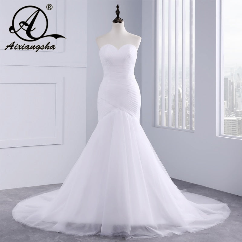 2019 Hot Selling Custom Made Mermaid Wedding Dresses Vestido de Noiva Sexy Sweetheart Sexy Backless Casamento Robe De Mariage