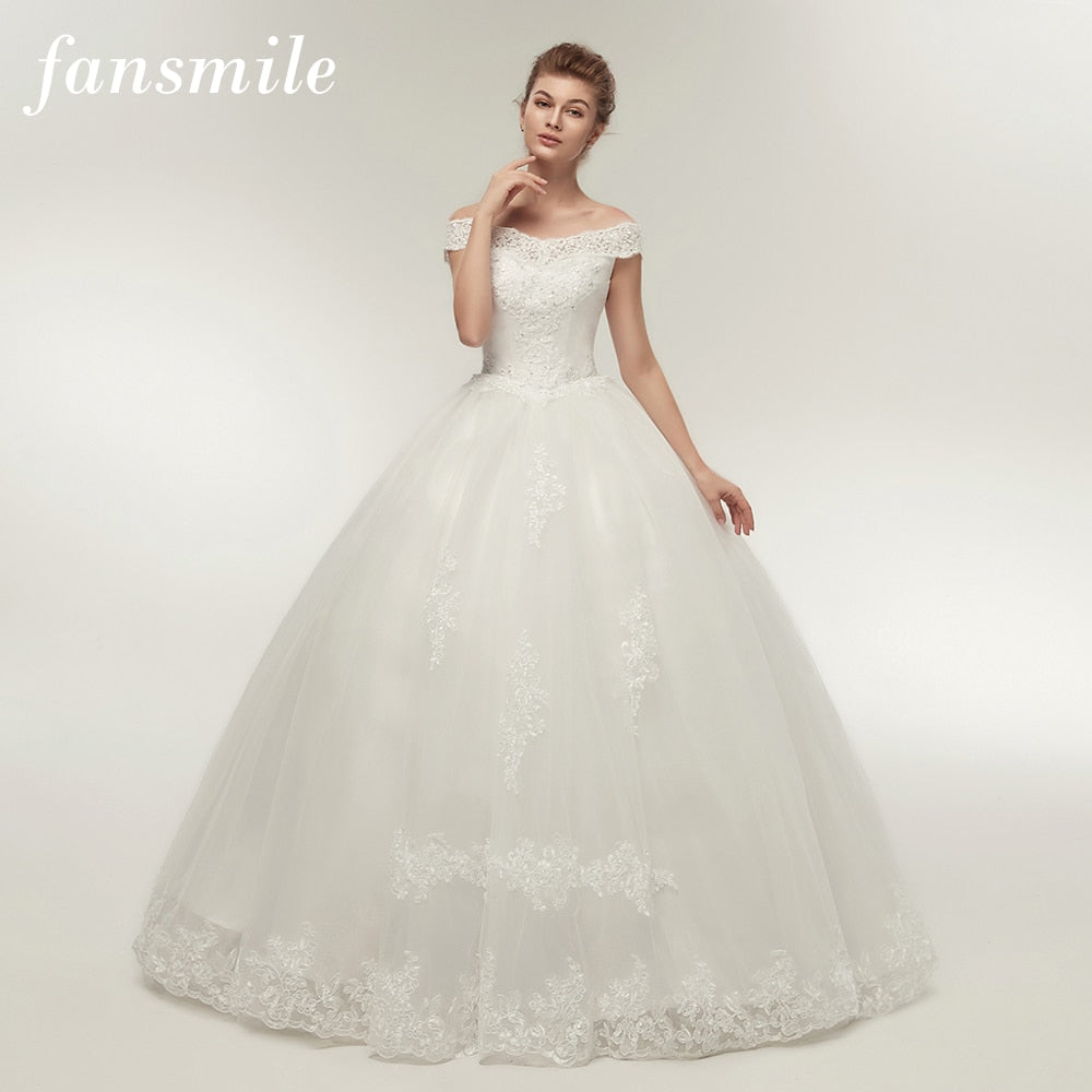 Fansmile Korean Lace Applique Ball Gowns Wedding Dresses 2018 Plus Size Bridal Dress Princess Wedding Gown Real Photo FSM-003F